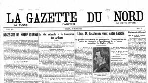 La une de La Gazette du Nord du 29 juin 1922.
