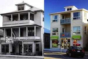 Les appartements Beauchemin en 1940 et le même édifice en 2012.