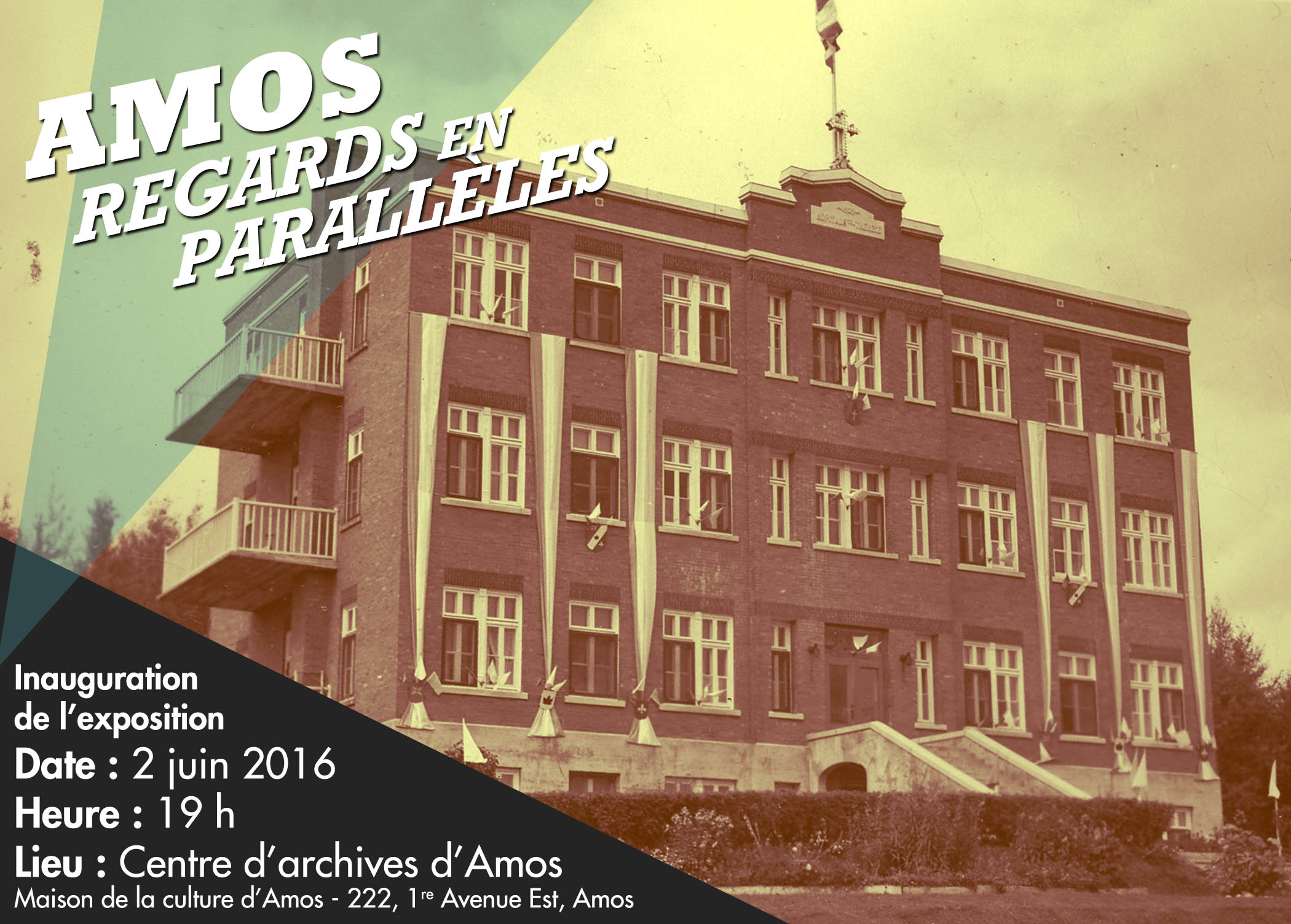 L'hôpital Sainte-Thérèse décoré pour l'arrivée de Mgr Desmarais. Photo prise avant 1940. SHA – Coll. Hôtel-Dieu d'Amos