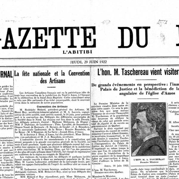 La une de La Gazette du Nord du 29 juin 1922