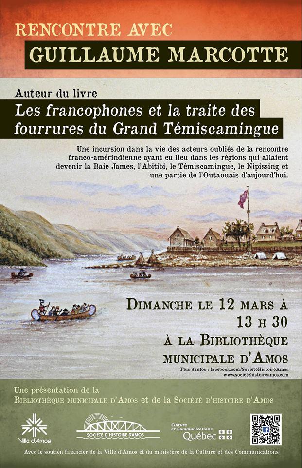 Affiche du lancement du livre de l'auteur et historien Guillaume Marcotte.